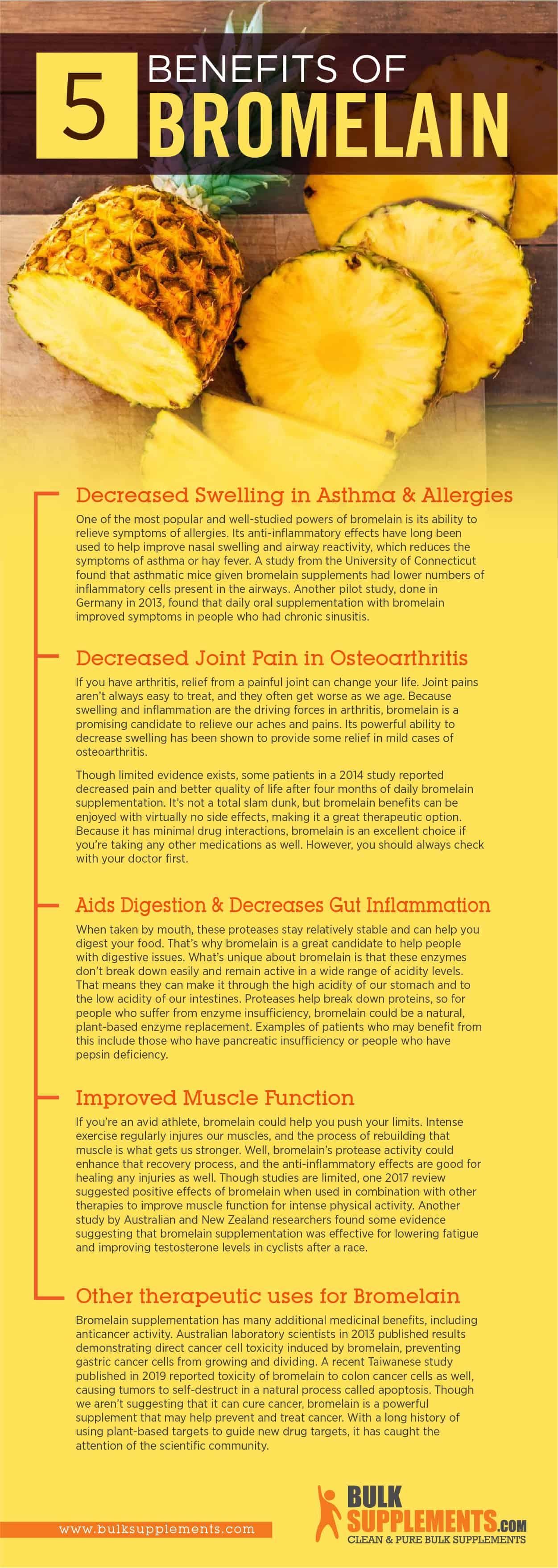 Bromelain benefits infographic