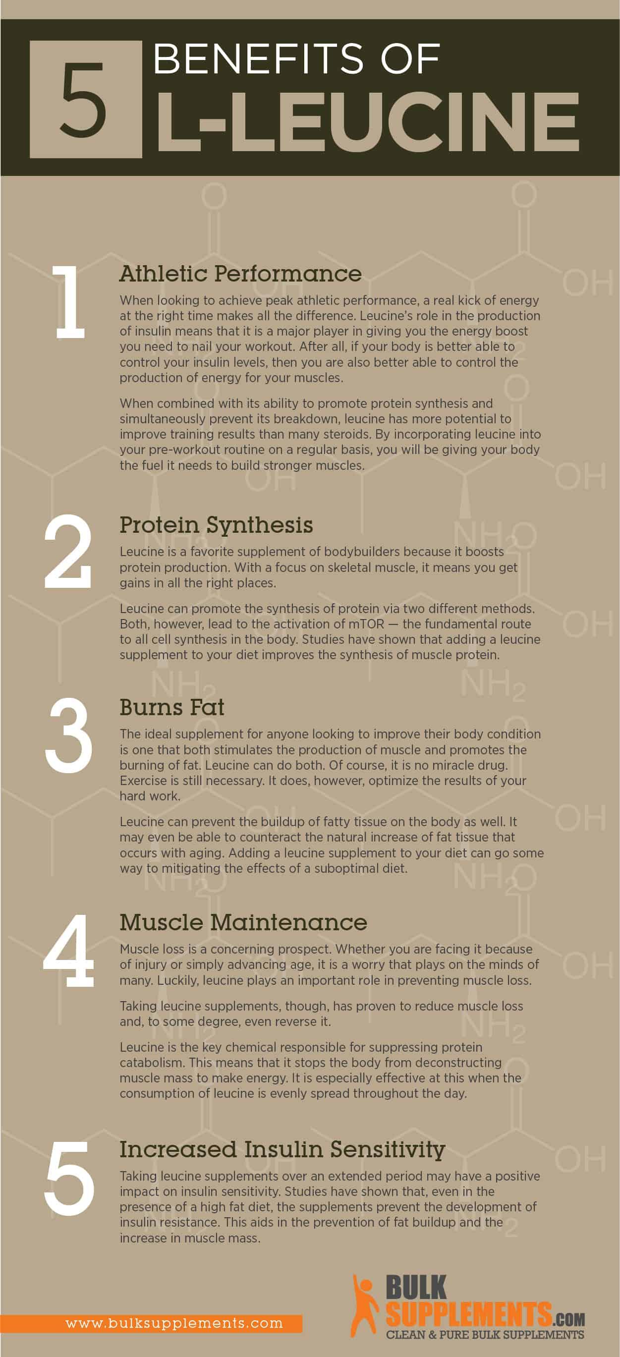 L-Leucine benefits infographic