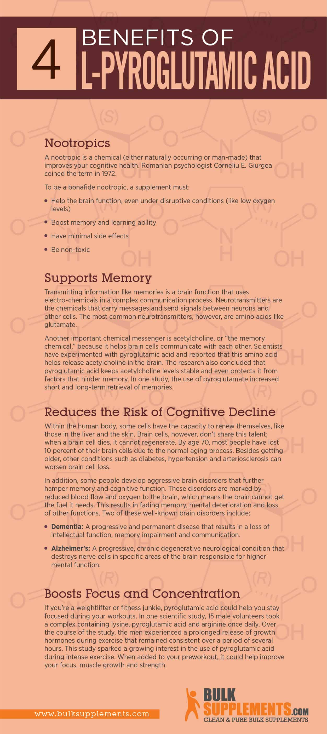 L-Pyroglutamic Acid benefits infographic